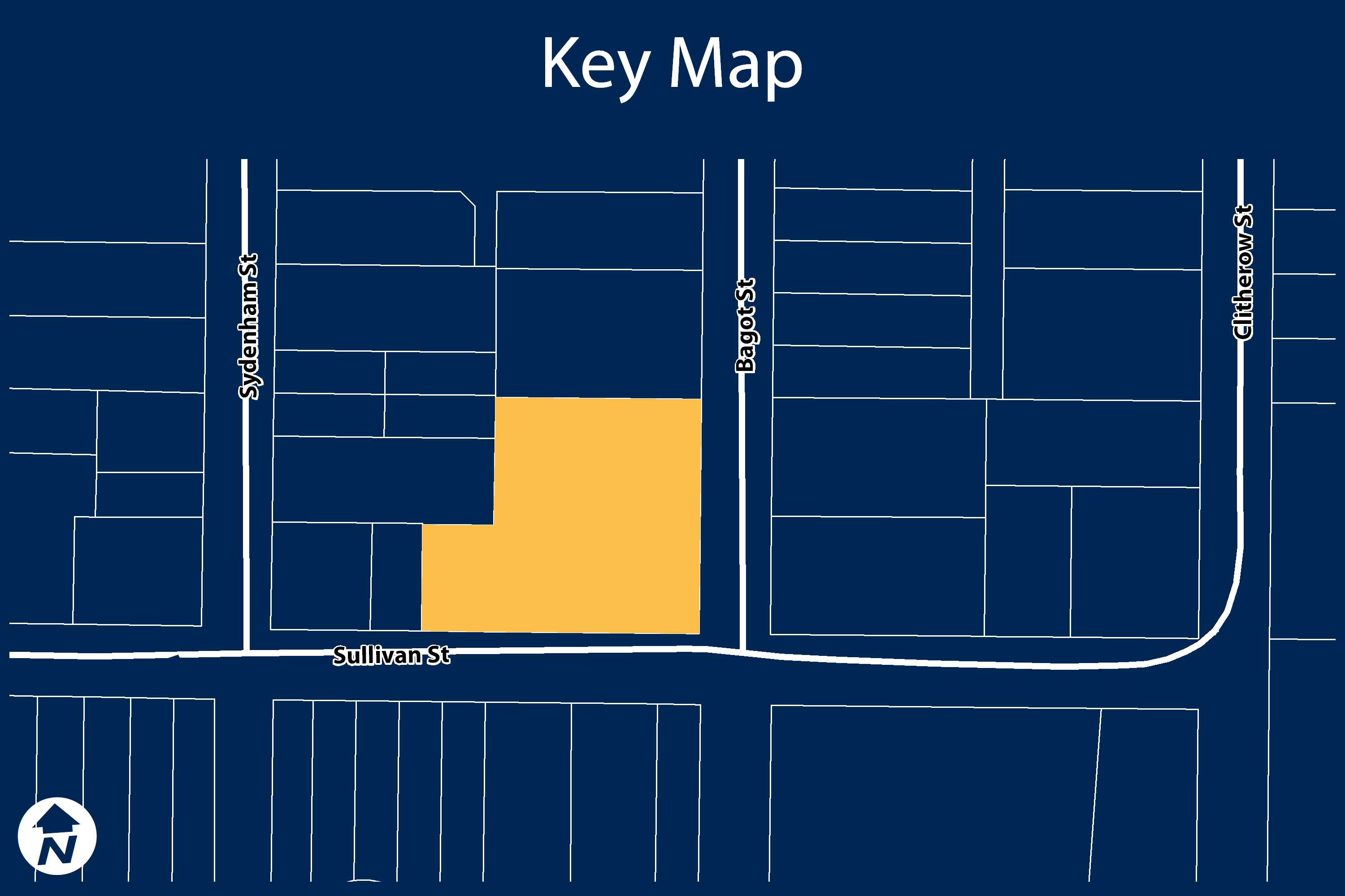 Key map of 195 Bagot Street, also known as the Colchester Schoolhouse property)