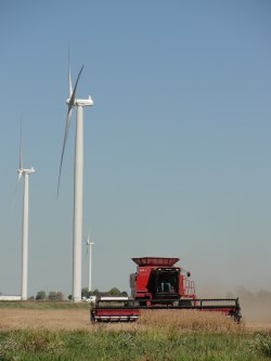 A combine cuts wheat below three turbines