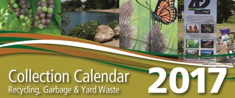 2017 Collection Calendar cover with photos of grapes, beach, monarch butterfly on milkweed, and 42nd parallel pullup banner