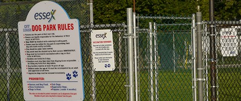 Essex Dog Park sign with rules