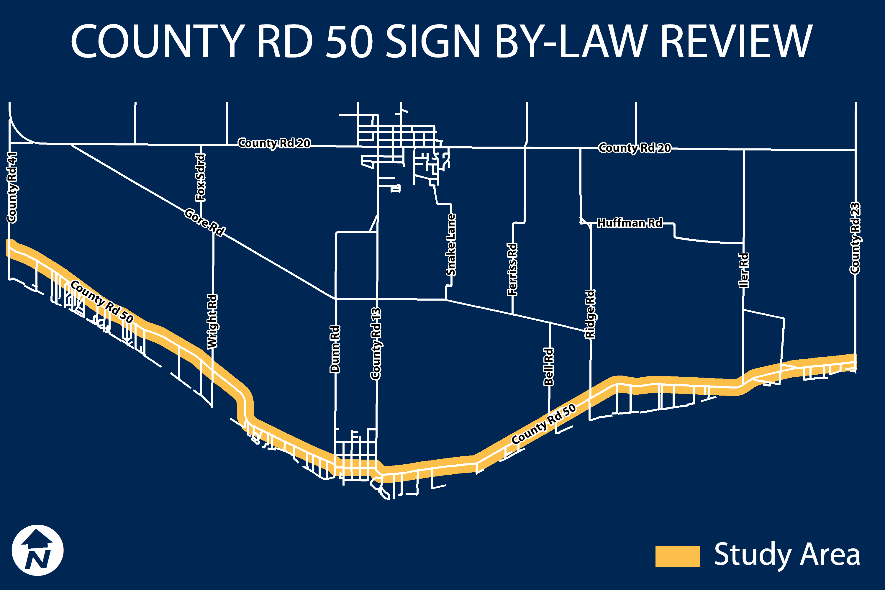 Map of the Sign By-law Study Area (showing County Road 50)