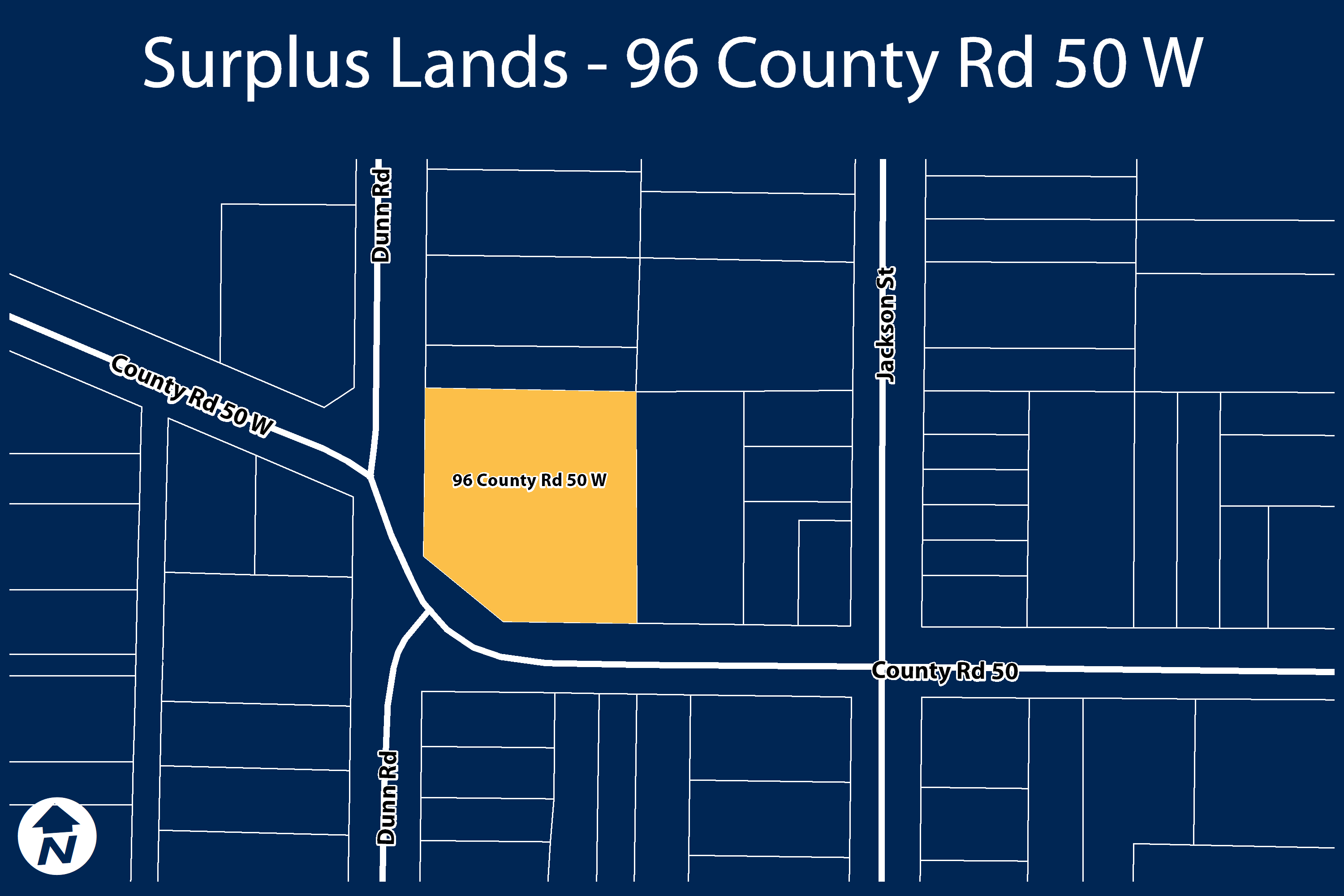Key map showing location of surplus lands at 96 County Road 50 W