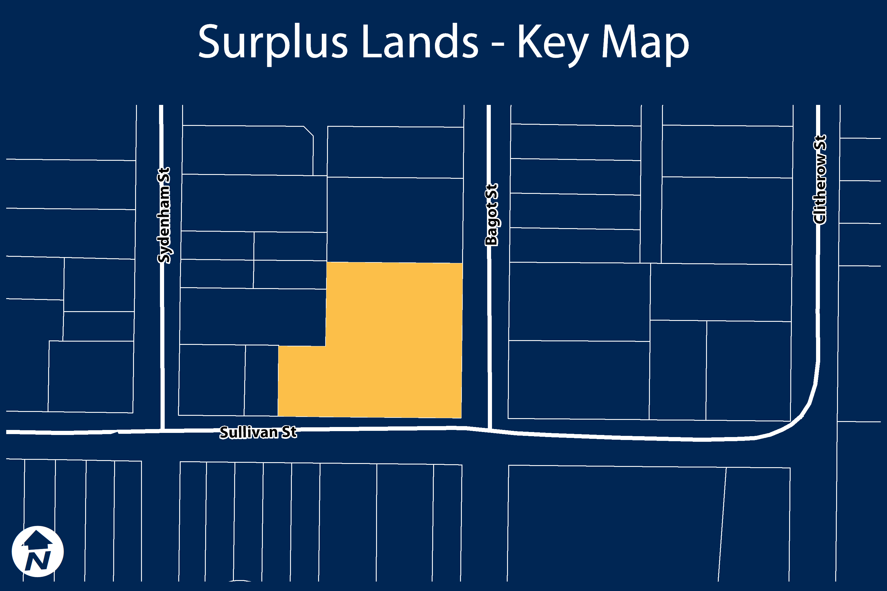 Key map showing location of surplus lands.