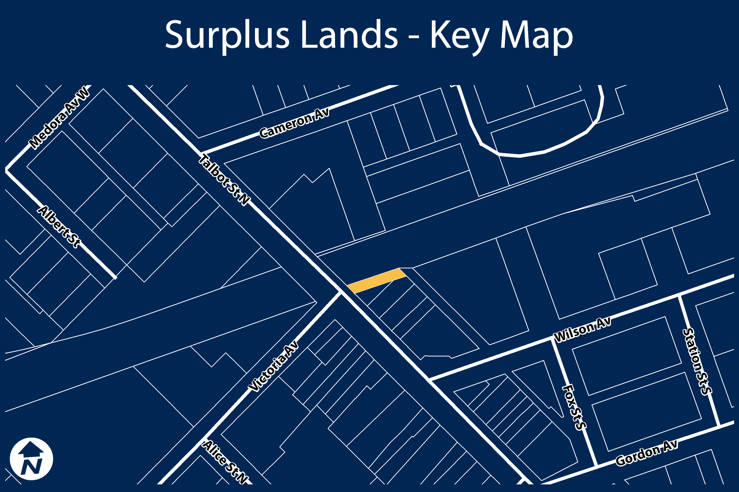 Key map of surplus property on Talbot Street North.