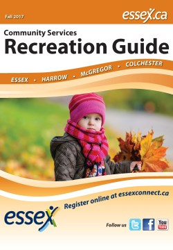 Cover of Fall 2017 Recreation Guide with young girl wearing hat, coat, scarf with leaves in hand