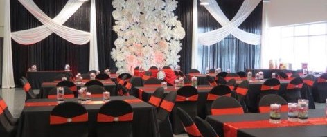 Shaheen Room decorated with black, red and white for party