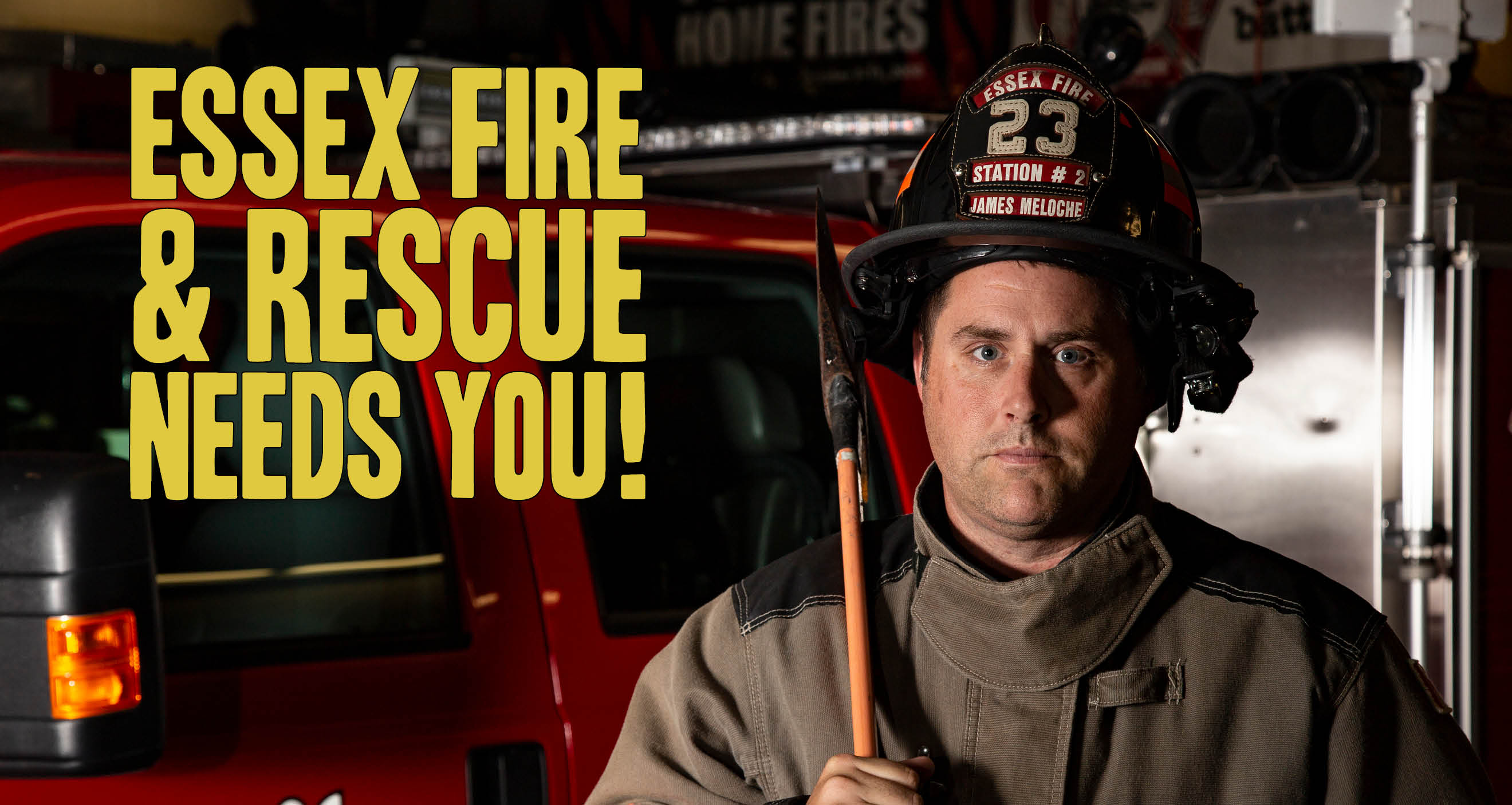 Image of a firefighter with axe. Text reads