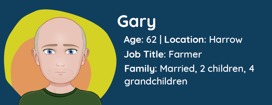 Character image of Gary with bio and family information